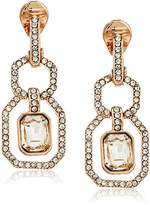 Anne Klein Pave Link Drop Clip-On Earrings