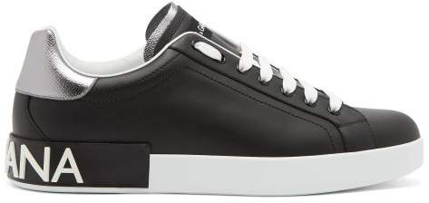 Dolce & Gabbana Low Top Leather Logo Trainers - Mens - Black