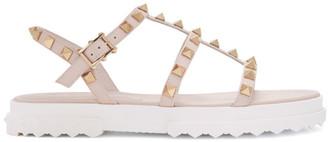 Valentino Pink Garavani Rockstud Flat Sandals