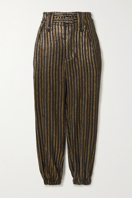 Saint Laurent Metallic Striped Woven Tapered Pants - Black