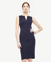Ann Taylor Doubleweave Split Neck Sheath Dress
