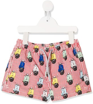 Mc2 Saint Barth Kids Vespa print swim shorts