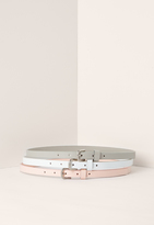 Missguided Grey White & Pink Three Pack Belts