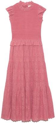 Sea Ingrid Smocked Midi Dress in Rose