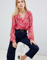 Vila floral sheer blouse