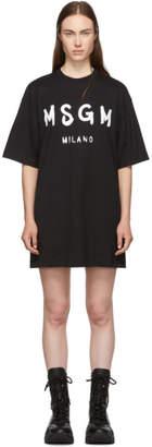 MSGM Black Paint Brushed Logo T-Shirt Dress