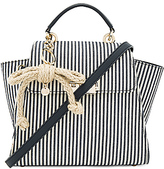 Zac Posen Eartha Iconic Convertible Striped Canvas Backpack in Navy.