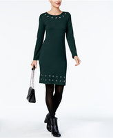 NY Collection Petite Grommet-Detail Sweater Dress