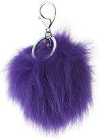 Adrienne Landau Fox Fur Pompom Bag Charm, Violet