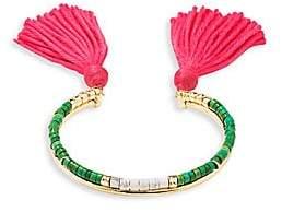 Aurelie Bidermann Green Jasper Beaded Tassel Bracelet