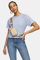 Topshop Blue Raglan Crop T-Shirt