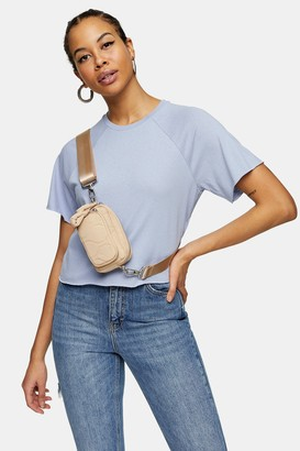 Topshop Womens Blue Raglan Crop T-Shirt - Blue