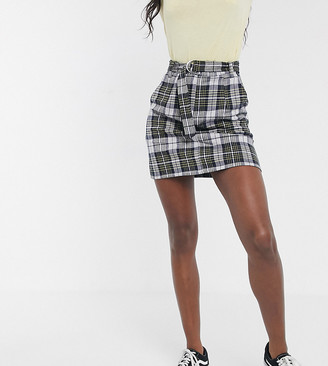 Brave Soul Tall bett mini skirt with D ring belt in yellow check