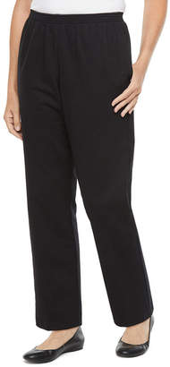 Alfred Dunner Petites Short Well Red Womens Straight Flat Front Pant