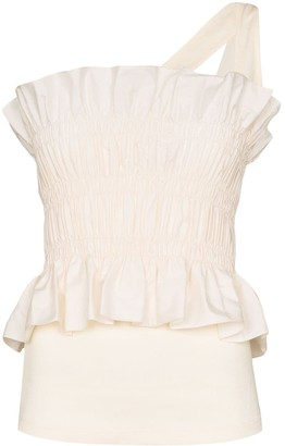Johanna Ortiz Good Flow one-shoulder shirred top