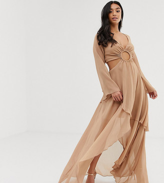 Asos DESIGN Petite maxi dress with long sleeve and circle trim detail-Beige