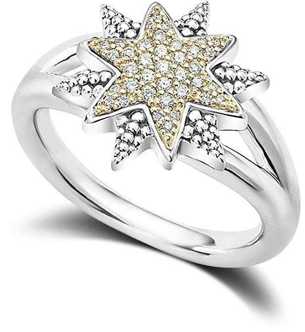 Lagos 18K Gold & Sterling Silver North Star Diamond Ring