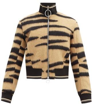 Paco Rabanne Brushed Tiger-jacquard Wool-blend Bomber Jacket - Black Beige