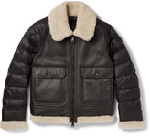 Moncler Laredo Shearling-Trimmed Leather and Quilted Shell Down Jacket
