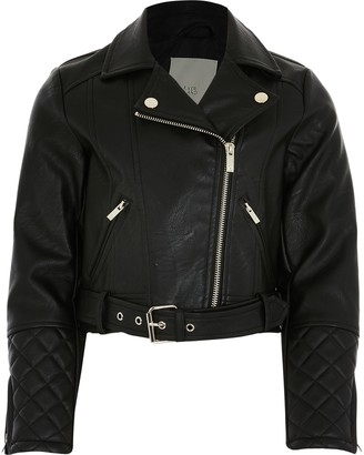 River Island Girls Black faux leather crop biker jacket