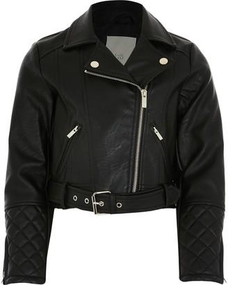 River Island Girls Black faux leather cropped biker jacket