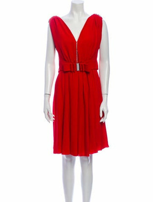 Valentino Silk Knee-Length Dress Red