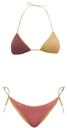 Oseree Lumiere Two-tone Metallic Triangle Bikini - Womens - Multi