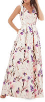 JS Collections Floral Printed Pleated Gown