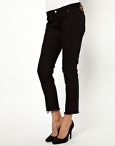 One Teaspoon Morrson Iggie Low Rise Skinny Jeans with Ripped Knee and Suede Patch - Black