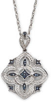 JCPenney FINE JEWELRY Vintage Inspirations White & Color-Enhanced Blue Diamond-Accent Necklace