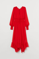 H&M Long Dress with Smocking - Red