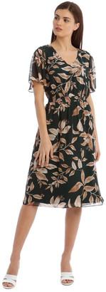 Basque Shirred Waisted Printed Dress