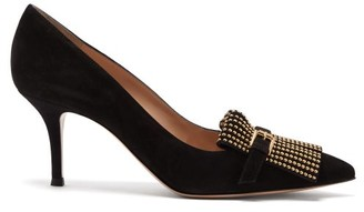 Gianvito Rossi Danielle 70 Studded-fringe Suede Pumps - Black Gold