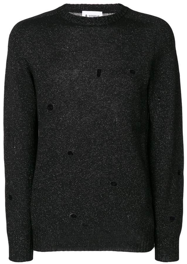 Dondup distressed metallic knit pullover