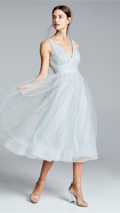Marchesa V Neck Tulle Glitter Gown