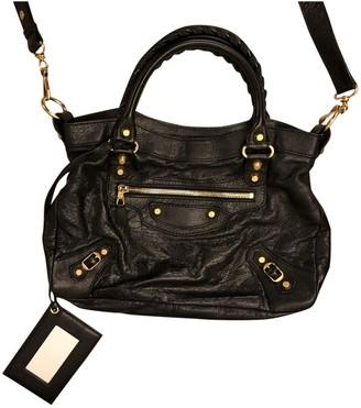 Balenciaga Classic Metalic Black Leather Handbags