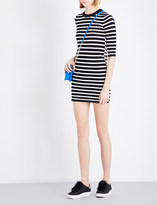 Mo&Co. Stripe-print cotton-blend dress