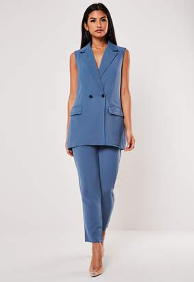 Missguided Blue Co Ord Long Sleeveless Blazer