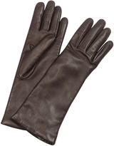 Forzieri Women's Cashmere Lined Dark Brown Italian Leather Long Gloves
