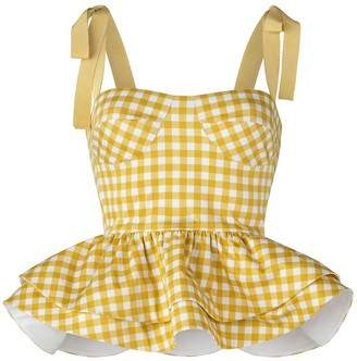 Silvia Tcherassi Junquillo Top in Citron Gingham