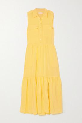 Equipment Allix Washed-silk Midi Shirt Dress - Yellow