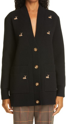 Burberry Embroidered Deer Oversize Wool Blend Cardigan
