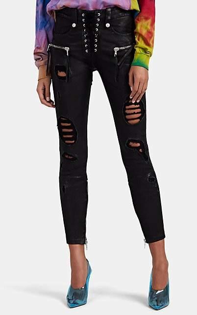 Taverniti So Ben Unravel Project Women's Plonge Distressed Leather Lace-Up Skinny Jeans - Black