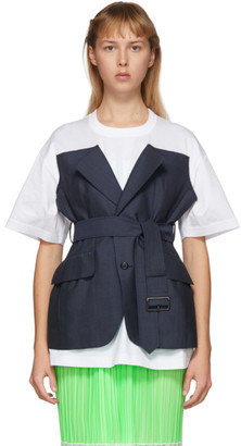 Junya Watanabe Navy and White Trench T-Shirt