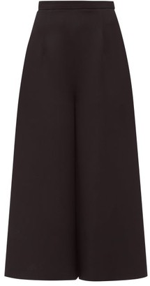 Andrew Gn Cropped Wide-leg Crepe Trousers - Womens - Black