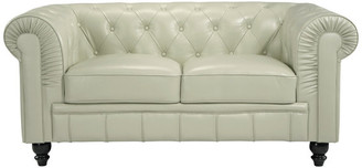 BEIGE Classic Chesterfield Real Italian Leather Loveseat,