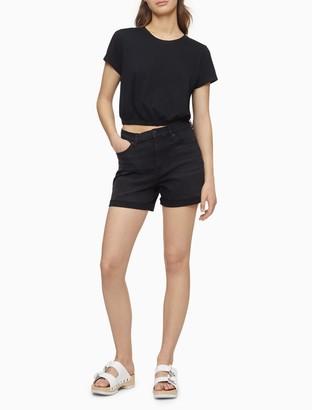 Calvin Klein High Rise Black Denim Raw Cuff Shorts
