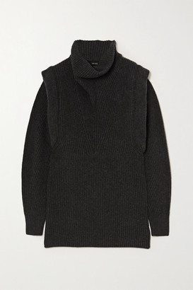 Isabel Marant Prewitt Ribbed Cashmere And Wool-blend Turtleneck Mini Dress - Anthracite