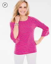 Chico's Glamour Striped Flutter-Sleeve Top