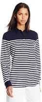 Lacoste Women's Long Sleeve Twill Placement Stripe Slim Fit Woven Shirt